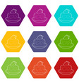 cake icons set 9 vector image vector image