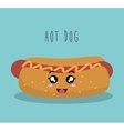 cartoon hot dog food fast facial expression design vector image