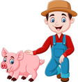 cartoon young farmer with a pig vector image vector image