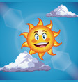 character sun cute face - cartoon in the blue sky vector image vector image