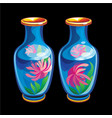 collection mascots two chinese vases vector image
