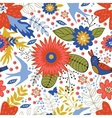 Colorful seamless pattern with birds and blooming vector image vector image