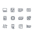 computer components icons on white vector image vector image