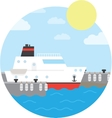 Cruise ship in the port Yacht on the water vector image vector image