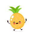 cute happy smiling pineapple character vector image