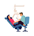 dentist examining patient woman in dental clinic vector image vector image