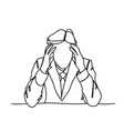 doodle frustrated business man holding head stress vector image