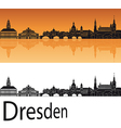 dresden skyline in orange background vector image vector image