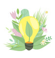 eco energy light bulb with plant growing inside vector image vector image