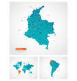 editable template map colombia with marks vector image vector image