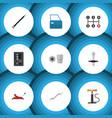 Flat icon auto set of coupler turnscrew lifting vector image