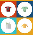 flat icon dress set of singlet casual t-shirt vector image vector image