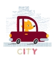 Fox with car t-shirt design vector image vector image