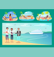 freelancers work with comfort at sandy beaches set vector image vector image