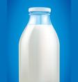 fresh milk in glass bottle on blue background vector image