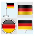 Germany flag - sticker button label flagstaff vector image vector image