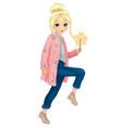 girl in pink fur holds sparkler vector image