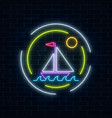 glowing neon summer sign with sailing ship in vector image vector image