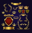 golden heraldic elements kings crowns vector image