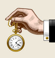 hand of man with a gold retro pocket watch vector image vector image