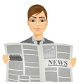 Handsome man reading a newspaper vector image