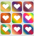 Heart Love icon Nine buttons with bright gradients vector image vector image