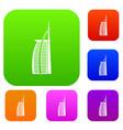 hotel burj al arab in united arab emirates set vector image vector image