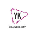 initial letter yk triangle design logo concept vector image vector image