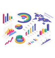 isometric charts circle diagram world map pie vector image