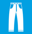jeans icon white vector image vector image