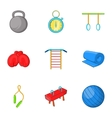 Lesson in gym icons set cartoon style vector image vector image