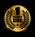 number one retro label on shiny golden circle vector image vector image