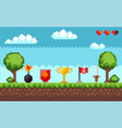 pixel game with icons and signs on ground scene vector image vector image