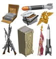 Rocket flag weapons and other isolated objects vector image vector image