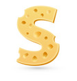 S cheese letter Symbol isolated on white vector image