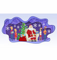 santa meets children - modern paper cut vector image
