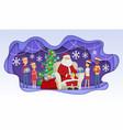santa meets children - modern paper cut vector image