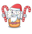 santa with candy easter cake mascot cartoon vector image vector image