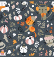 seamless pattern cats wearing scarf playing on vector image vector image