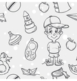 Seamless texture of childrens toys for the boy in vector image vector image