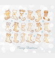 set doodle sketch christmas socks on white vector image vector image