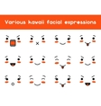 set kawaii doodle various facial expression vector image vector image