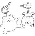 set of animal keychain vector image vector image