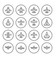 set round line icons of plane vector image vector image