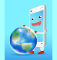smartphone cartoon playing with earth globe vector image vector image