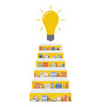stairway consists of bookshelves and a light bulb vector image vector image