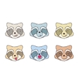 The set of faces raccoons vector image vector image