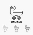 trolly baby kids push stroller icon in thin vector image