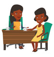 two business women during meeting vector image vector image