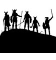 viking raiders silhouette vector image vector image